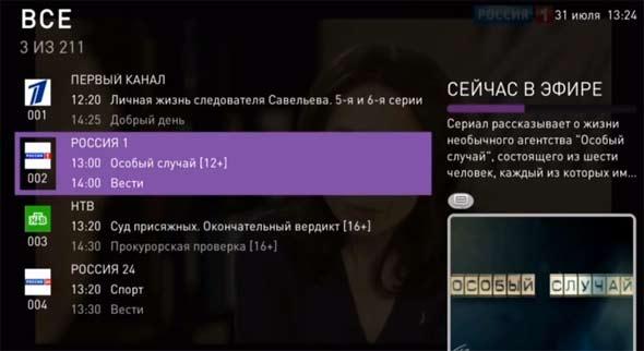 Список каналов, что сейчас в эфире