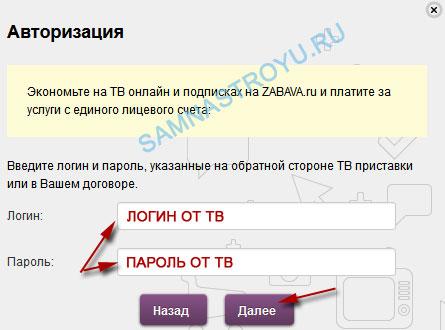 Введите логин и пароль от Интерактивного ТВ